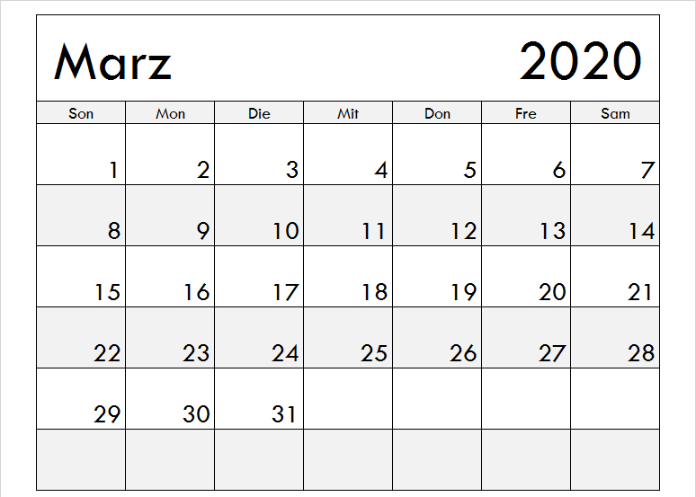 Druckbare Vorlage Fur Marz 2020 Kalender Pdf Word Excel Calendar Printables Monthly Calendar Template Calendar Template