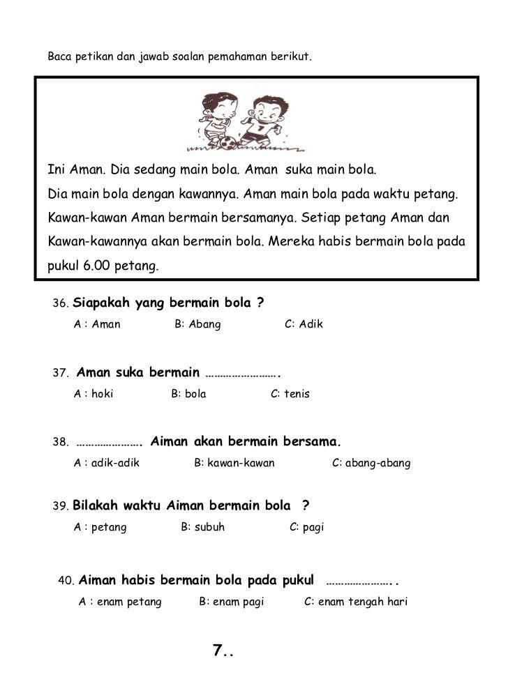 Image Result For Kefahaman Darjah 1 Kindergarten Reading Worksheets Kindergarten Reading Activities Free Kindergarten Reading