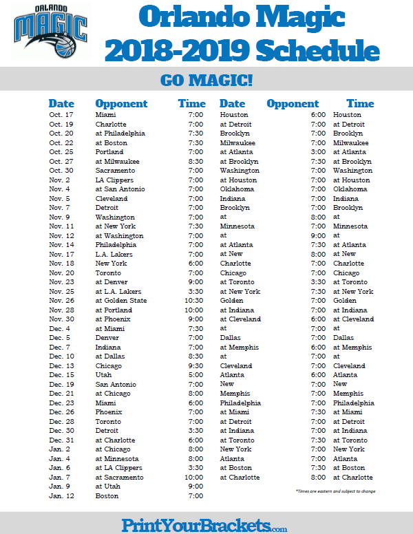 Magic Schedule 2019 Printable 2018 2019 Orlando Magic Schedule | Printable NBA