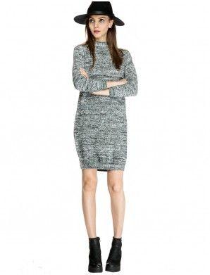 fa68ca4c12 Mindy Grey Mock Neck Sweater Dress