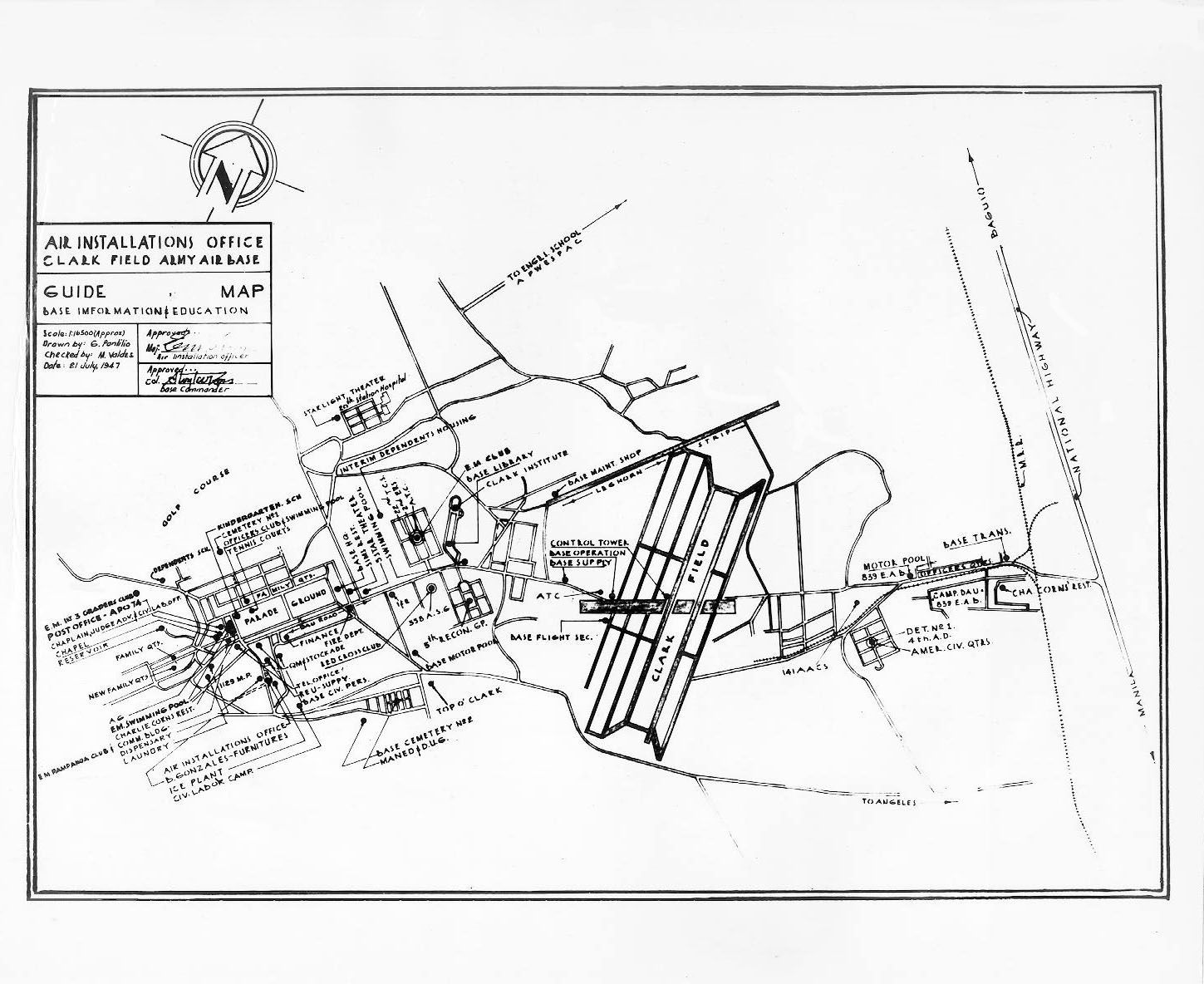 Map Of Clark Army Air Base From 1947