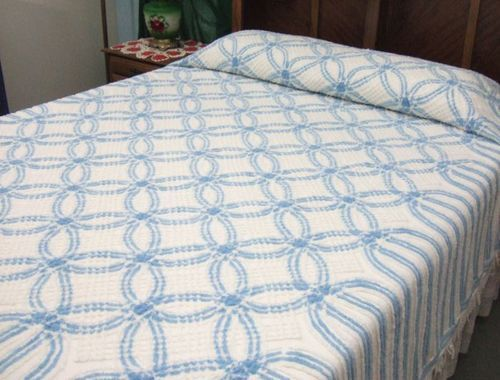 Vintage Blue White Double Wedding Ring Chenille Bedspread