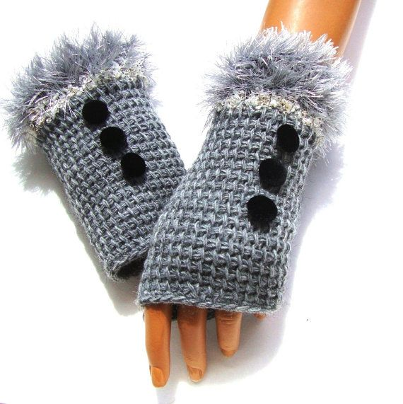 Grau, fingerlose Handschuhe häkeln grauen Handschuh Winter Arm ...