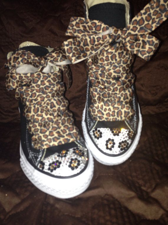 Toddler Bling Converse with Swarovski Customized with Leopard designs by  TaylorsPenny 42d380075