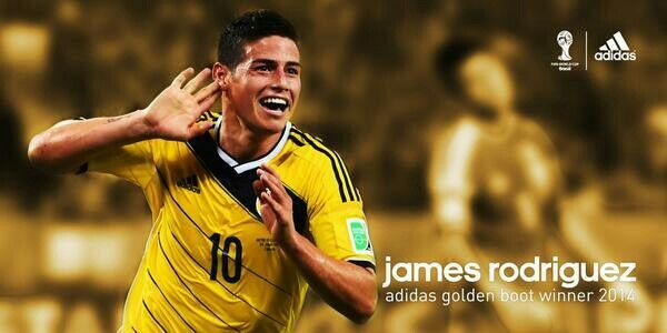 James Rodriguez Of Colombia Winner Of The Golden Boot James Rodriguez Adidas Football James Rodriguez Colombia