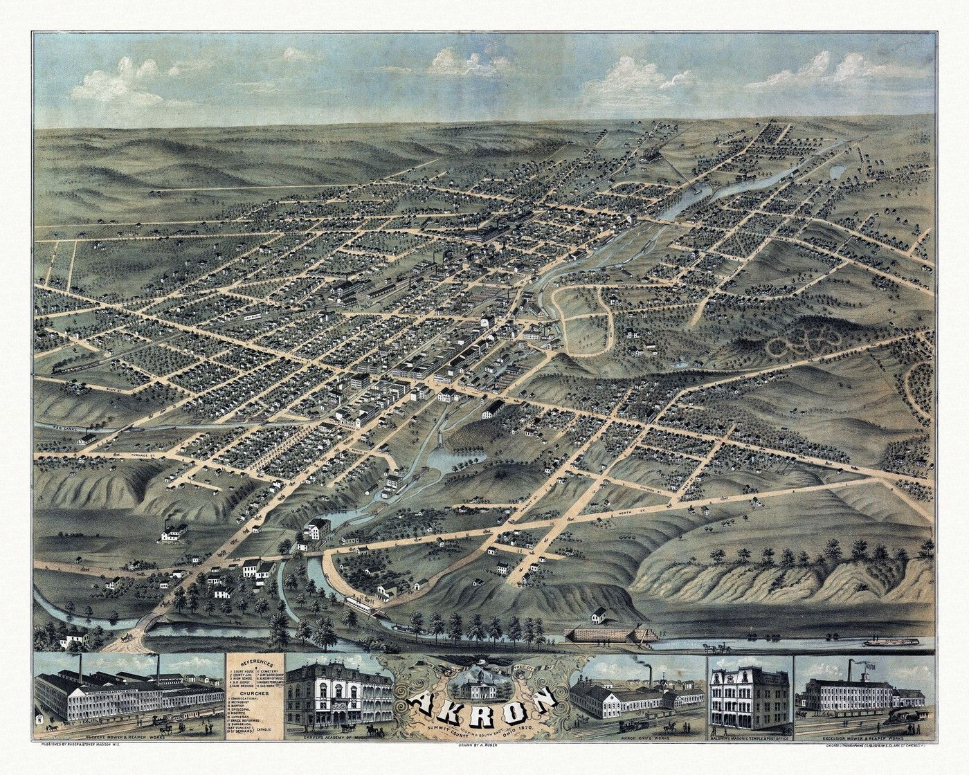 Historic Map of Akron Ohio 1870 Summit County Poster
