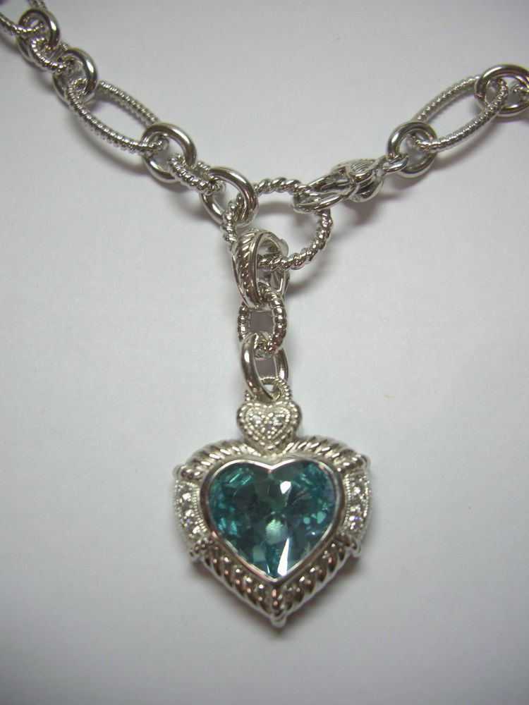 Judith ripka blue topaz heart enhancer necklace sterling silver 925 judith ripka blue topaz heart enhancer necklace sterling silver 925 cz aloadofball Gallery