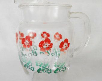 Glass Water Pitcher On Etsy A Global Handmade And Vintage Marketplace Pitcher Glass Pitchers Vintage Drinking Glasses