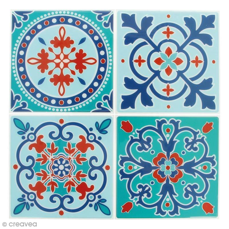 Stickers Mosaïque – Carré – Bleu ciel et orangé – 12 x 12 cm – 4 pcs