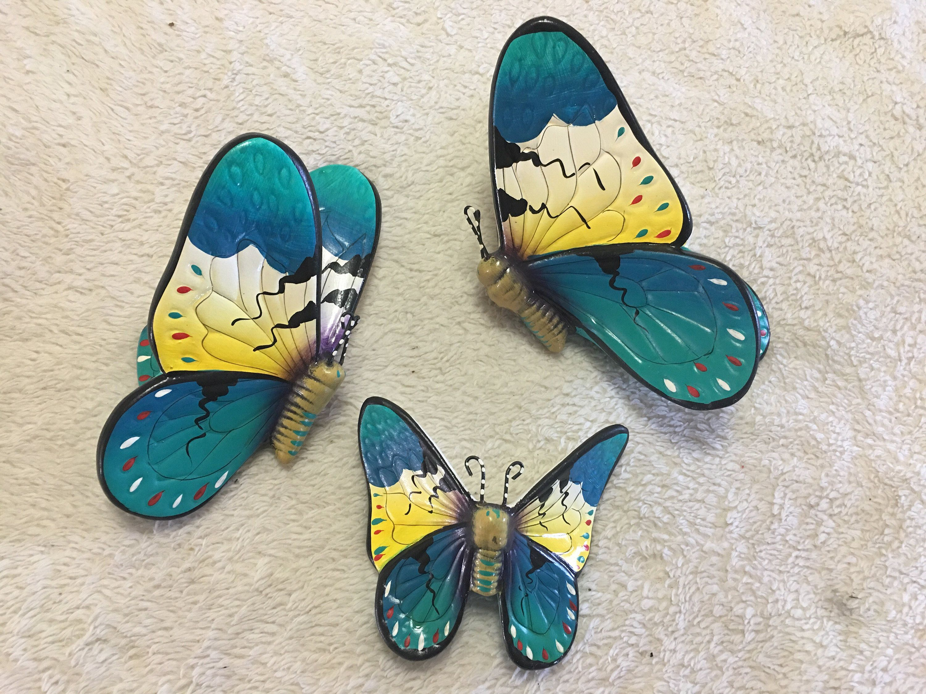 Butterflies / butterfly wall art/ ceramic butterfly / mariposas / hand painted butterflies / butterfly wall decor by AdellasPottery on Etsy