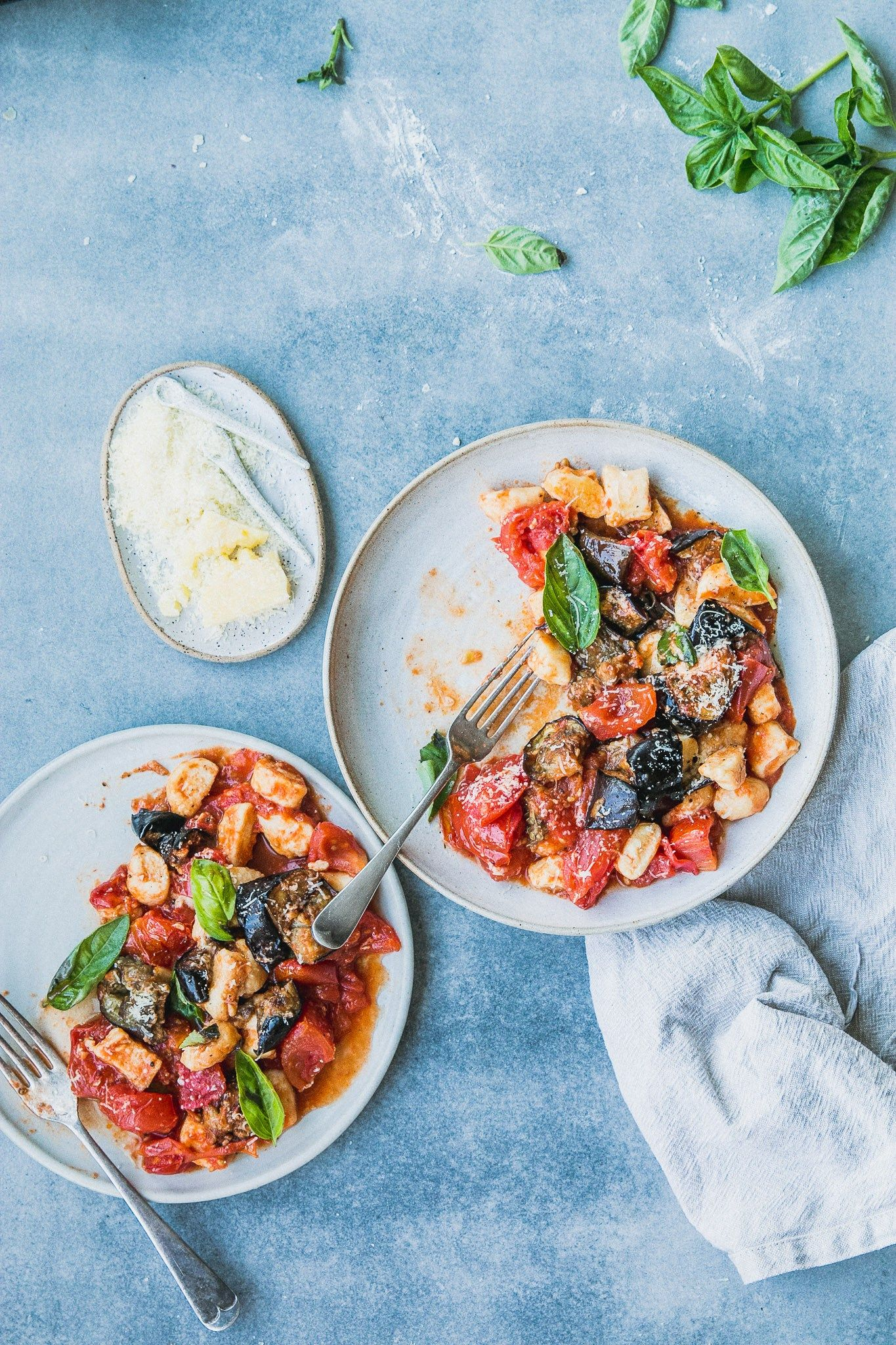 Fast ricotta gnocchi with roast tomato & eggplant sauce | Recipe ...