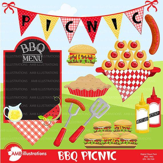 BBQ clipart Picnic clipart Backyard Barbecue Bbq party | Etsy | Bbq party,  Party clipart, Picnic