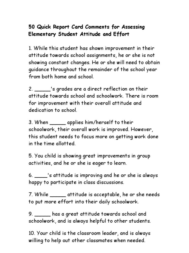 50 quick report card comments for assessing elementary