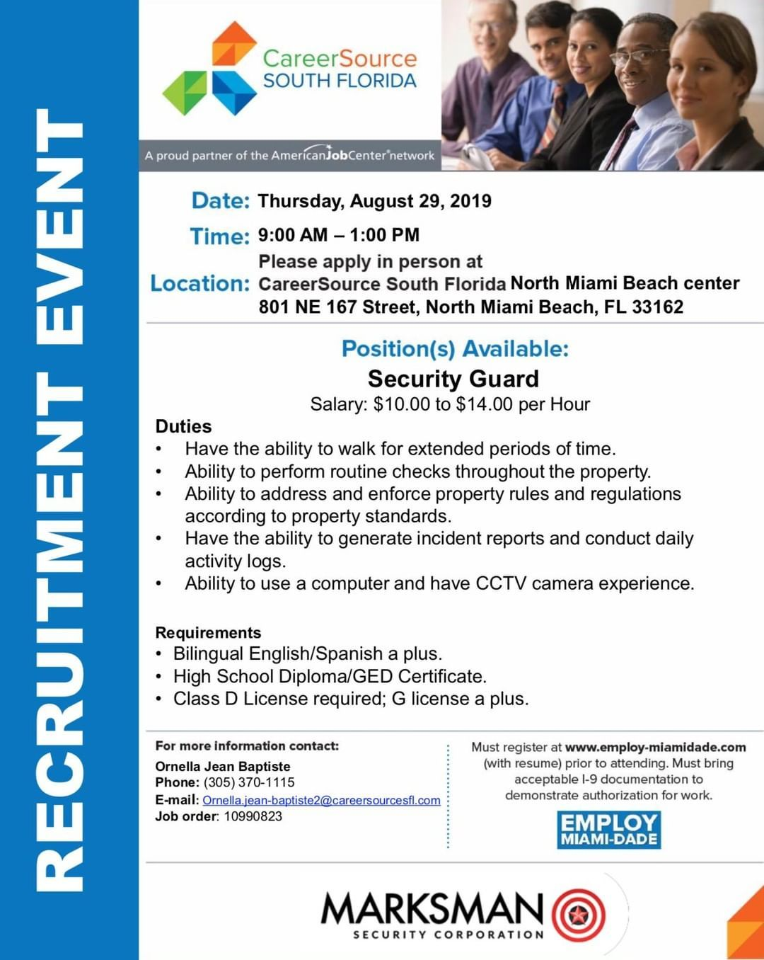 Marksman Security Corp Is Hiring Security Guards Please Apply In Person On Thursday August 29th At Our North Mia North Miami Beach Miami Beach Fl Miami Beach