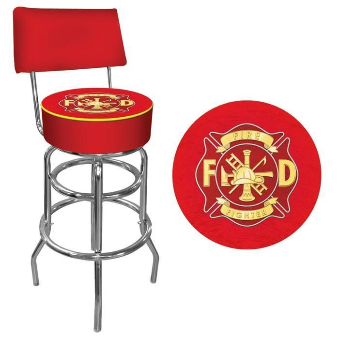 trademark commerce ff1100 fire fighter padded bar stool with back