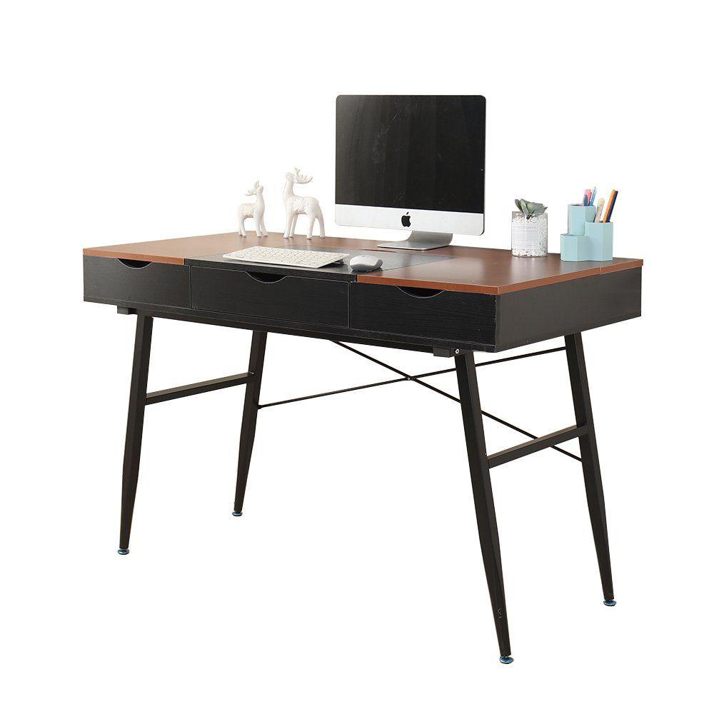 Soges 47u2033 Modern Computer Desk Home Office Desk With Drawers, Fully  Assembled Desktop, Workstation Desk Writing Desk Modern Desk, Black U0026 Teak  CS 898 120  ...