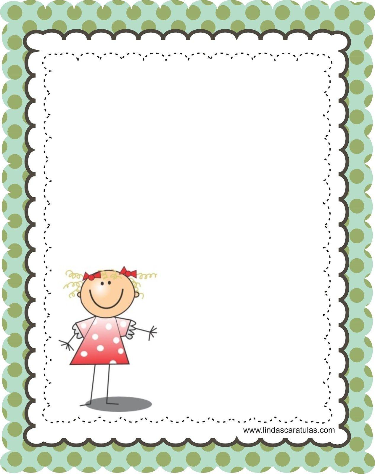 BORDERS FOR KID: CARATULAS PARA COLEGIO | hoja | Pinterest | Para ...