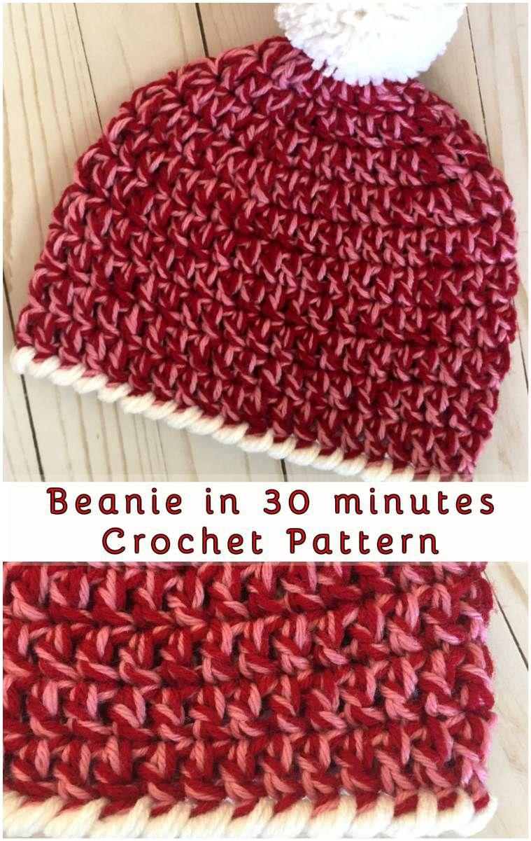 Beanie in 30 minutes - Free Crochet Pattern | Gorros, Patrones y Tejido