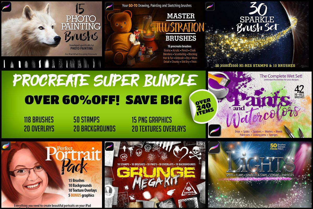 Ad Procreate Super Bundle By Potterdesigns On Creativemarket