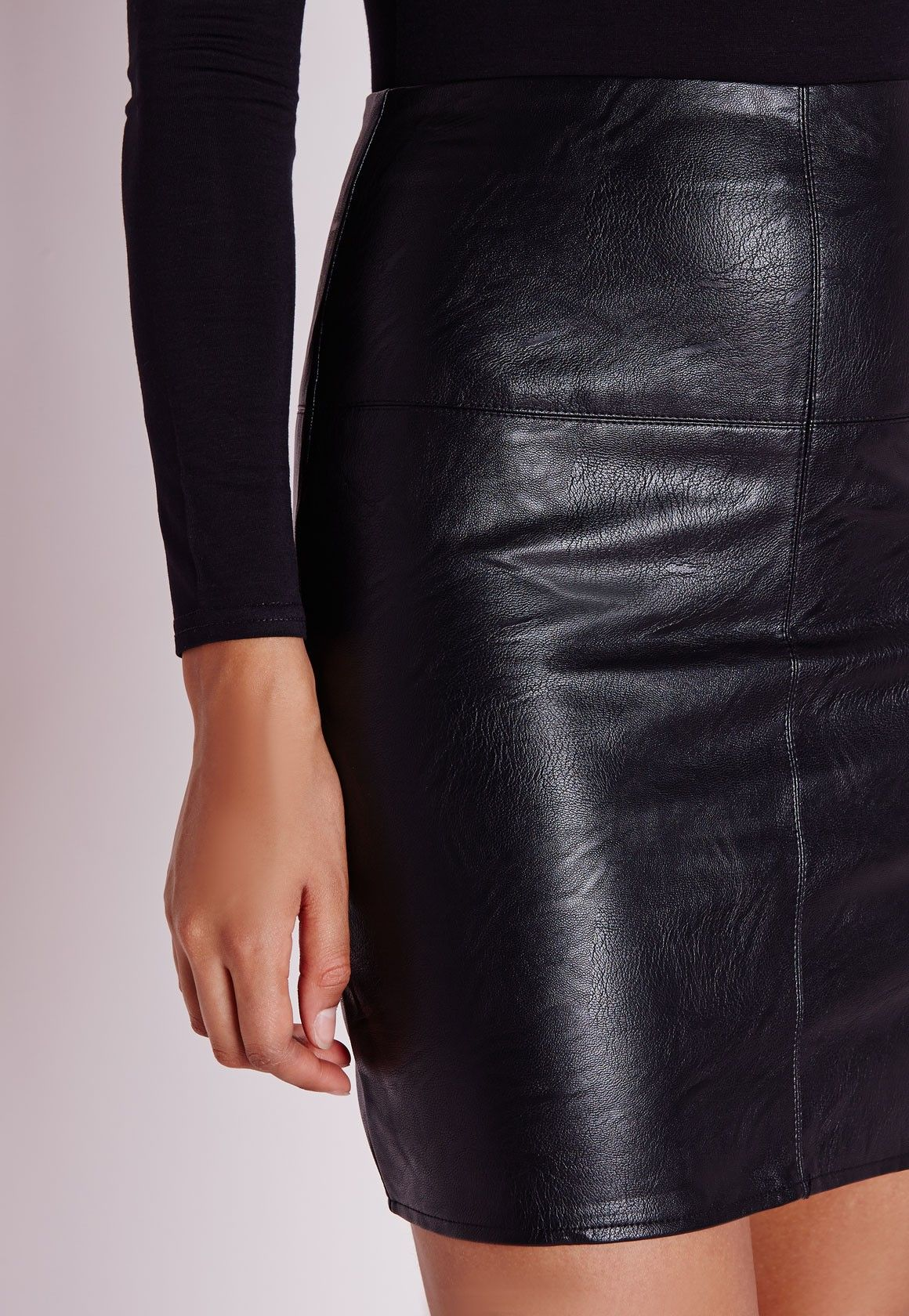 cd40a7c8b1 Petite Black Faux Leather Mini Skirt in 2019 | Leather | Leather ...