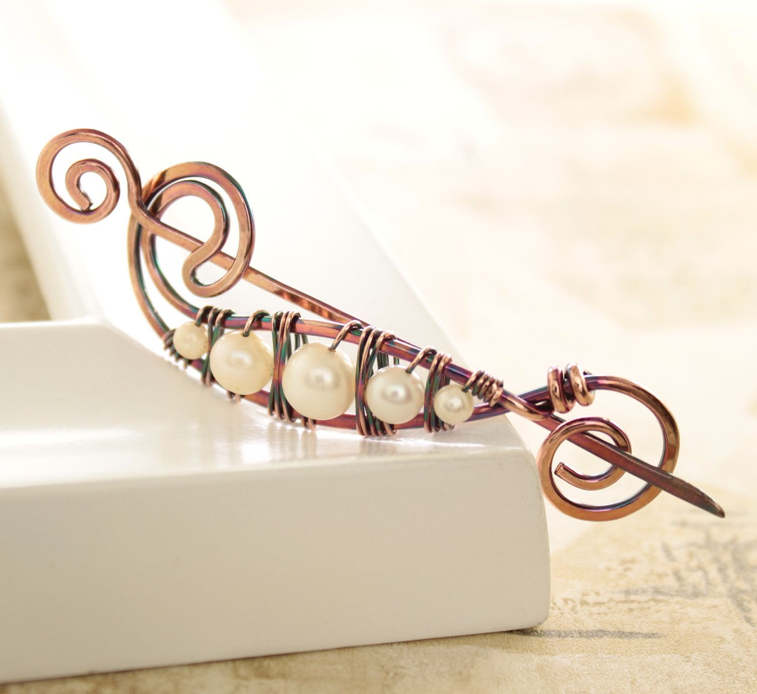 Shawl pin or scarf pin in peas in a pod design with copper and white ...