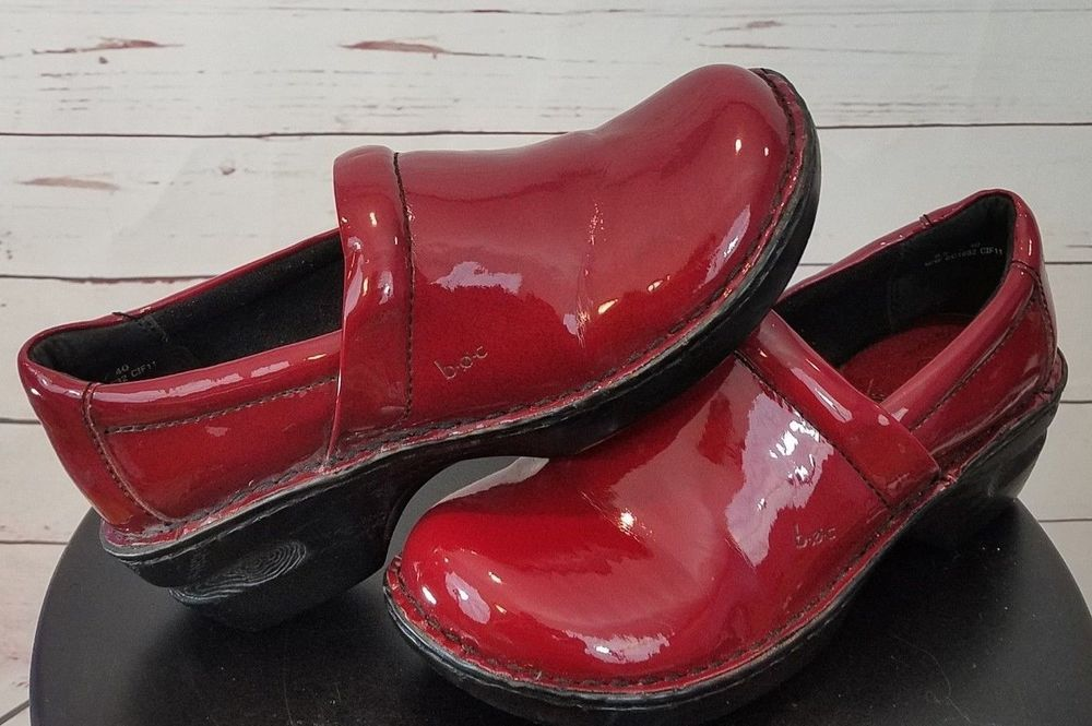 8516a489af8a BOC Born Concept Red Patent Slip On Clogs Mules Shoes Womens Nurse Size 8.5   Brn  Clogs  Any