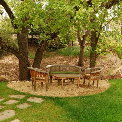 sitting area under shade trees