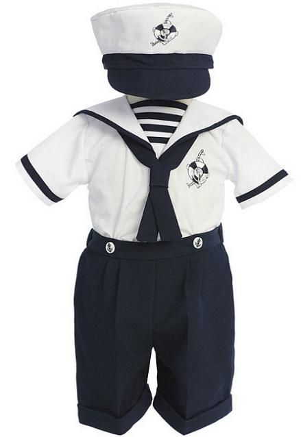 43de321a6 A darling boys sailor short suit for babies 6 months old that comes with a  matching hat.