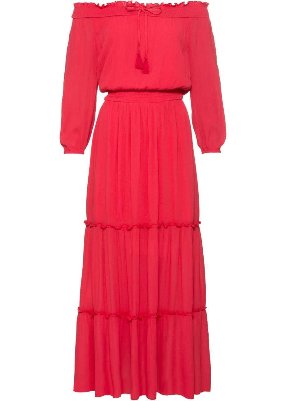 Knöchellanges Kleid mit Rüschen - erdbeere  Kleid mit