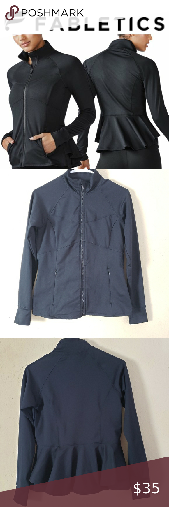 Fabletics Michaela Peplum Athletic Jacket Stylish Outerwear Athletic Jacket Jackets [ 1740 x 580 Pixel ]