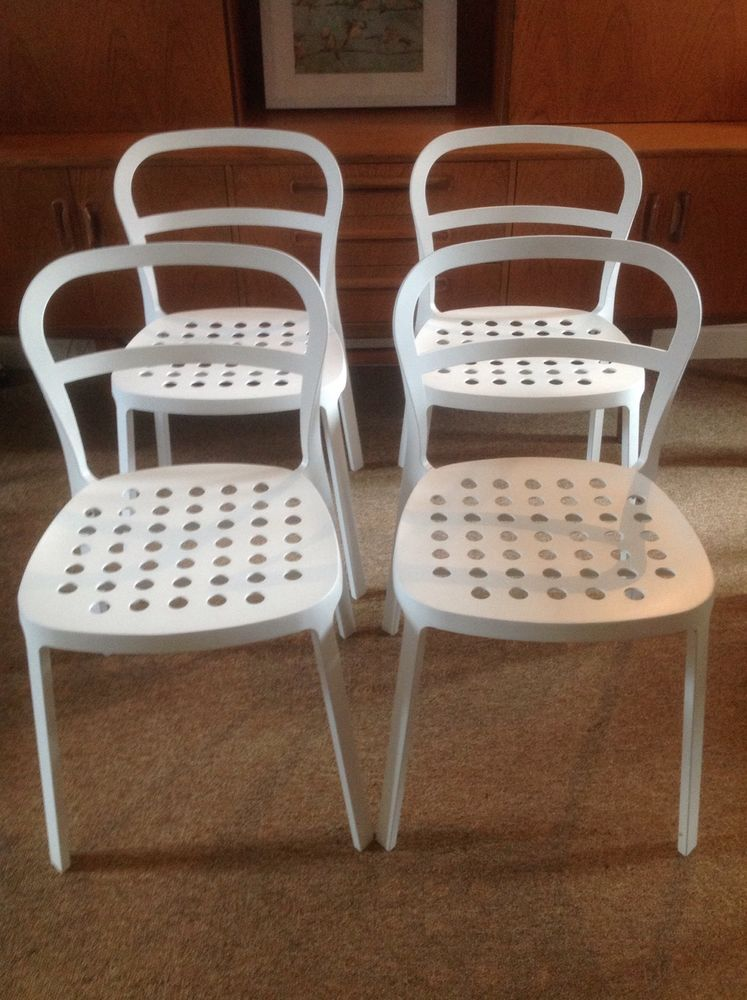 4x White IKEA REIDAR Chairs   Excellent Condition