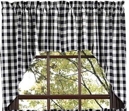 primitive photo curtains check index style annies mail country curtain cream album buffalo swags wheat swag