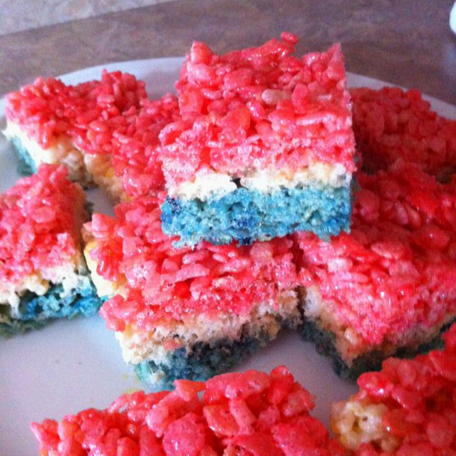 Easy and patriotic :) just add food coloring to the original rice ...