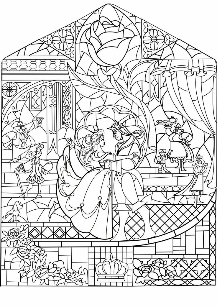 beauty and the beast stained glass window coloring page final scene