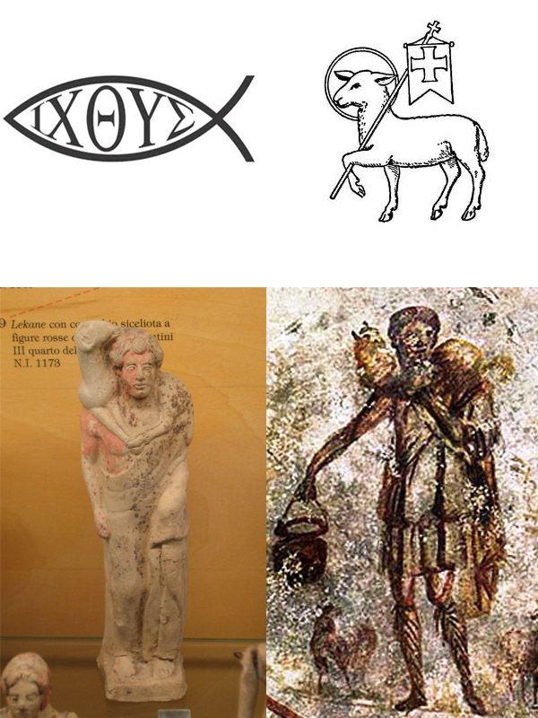 De izquierda a derecha: El Pez, el Cordero de Dios, Moscóforo y el ...