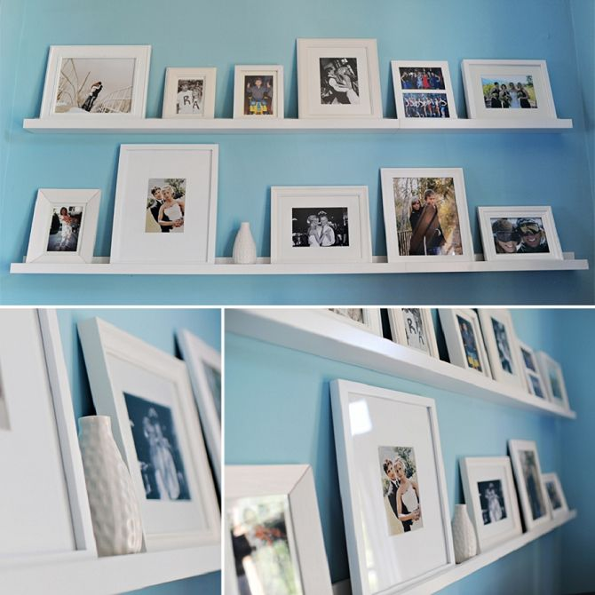 Ikea photo shelves - but with black frames and black and white ...