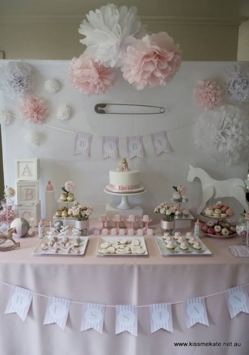 Baby Pink And #White   27 Super Cute Baby #Shower Decorations To