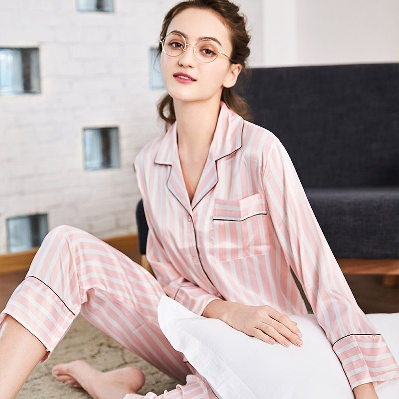 PS0111 Spring Autumn Women Pajamas Striped Pyjama Nightwear Lady Satin Silk  2 Pieces Pajama Sets Female V Neck Collar Sleepwear 207ff4ae6