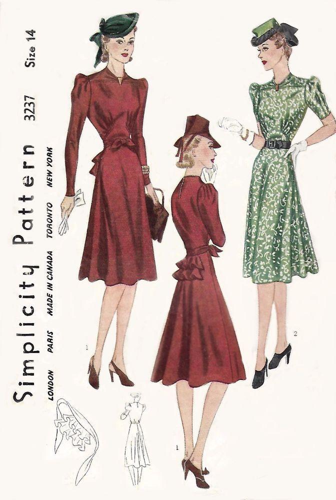 Vintage 1940s Sewing Pattern Gathered Yoke Tea Dress Bustle Bust 32 Wwii G Simplicity 1940s Sewing Patterns Tea Dress 1940s Tea Dress