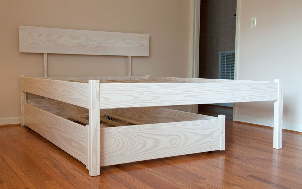 queen bed with twin trundle white wash