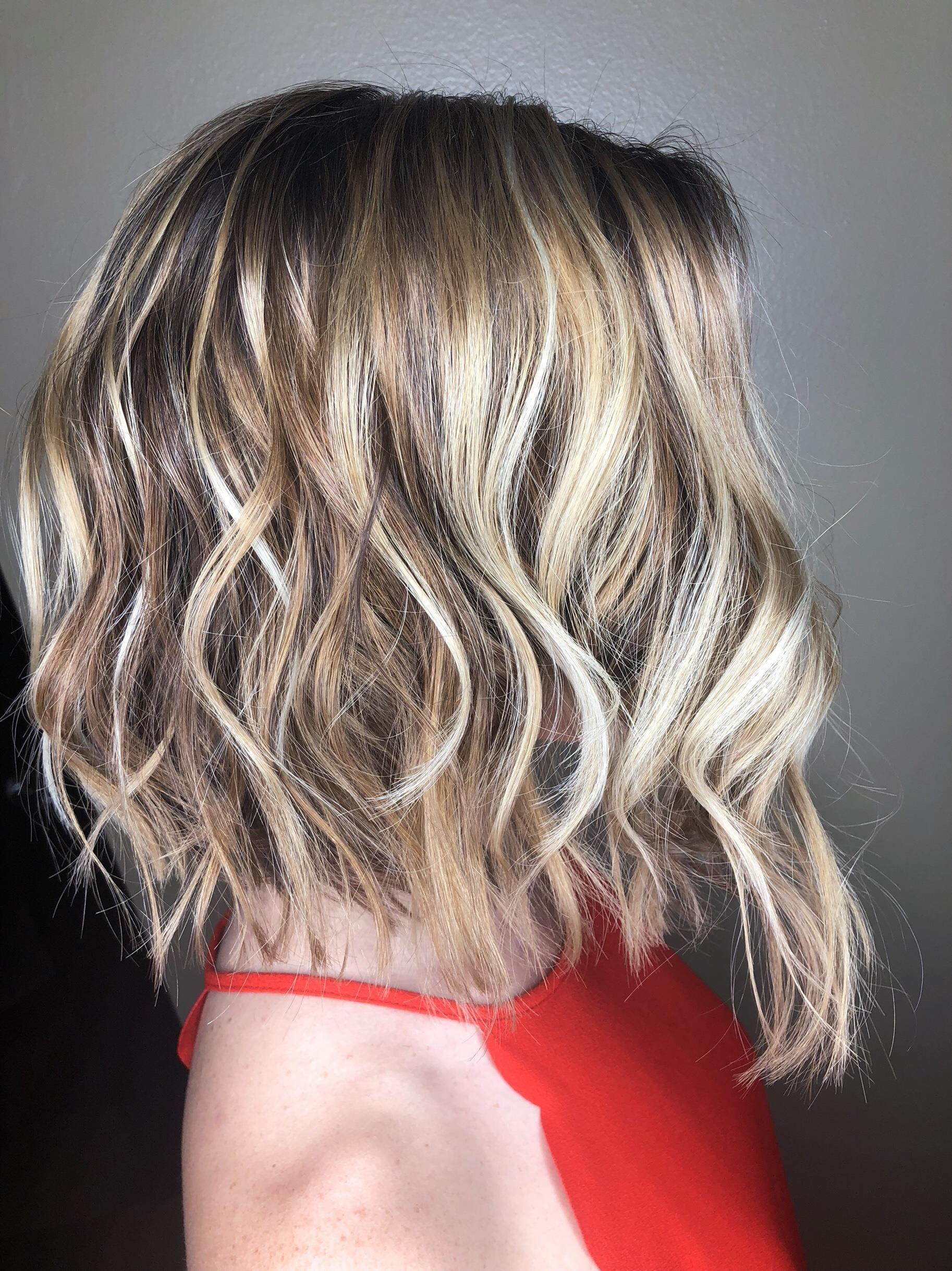 Balayage glaze and haircut full head of balayage with color