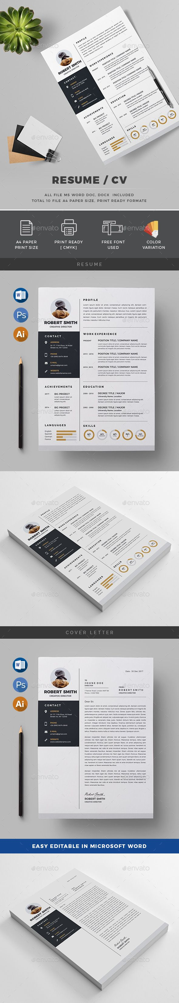 Resume | Template, Stationery design and Ai illustrator