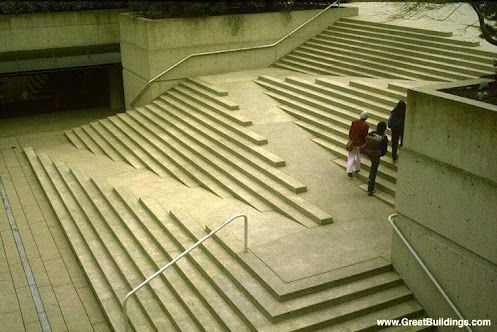 Vancouver, BC - Robson Square. Integration of ramp and stairs is aesthetically pleasing.