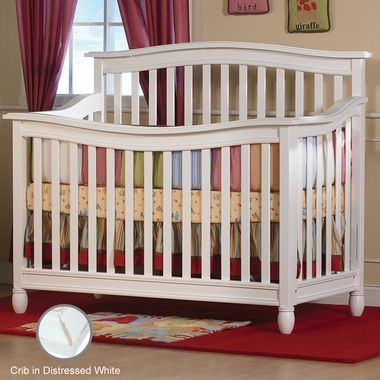 Pali Wendy Convertible Forever Crib Distressed White Free Shipping