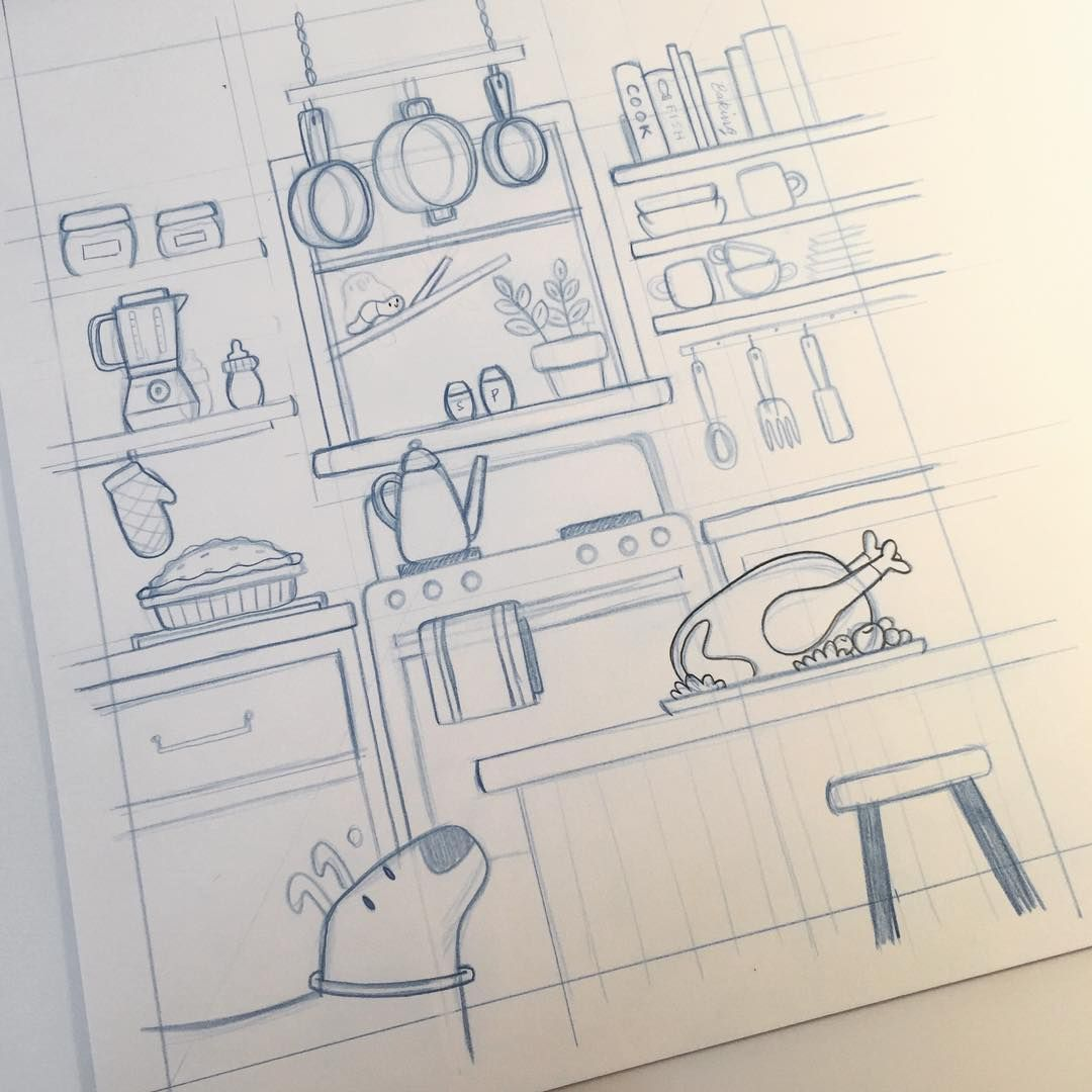 Maybe If Illustration Doesn't Work Out I Can Design Kitchens Magnificent Kitchen Design Drawings Design Ideas