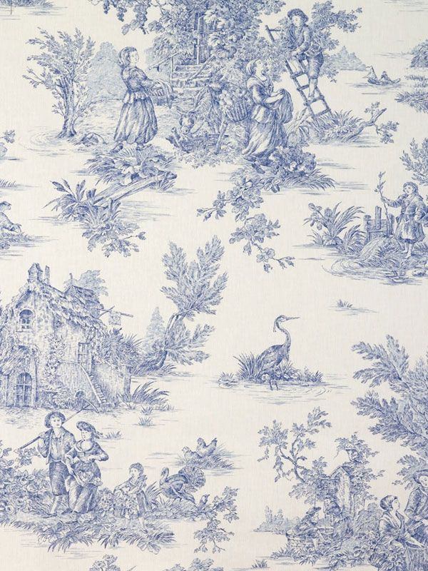 blue french toile things i love toile papier peint toile de jouy. Black Bedroom Furniture Sets. Home Design Ideas
