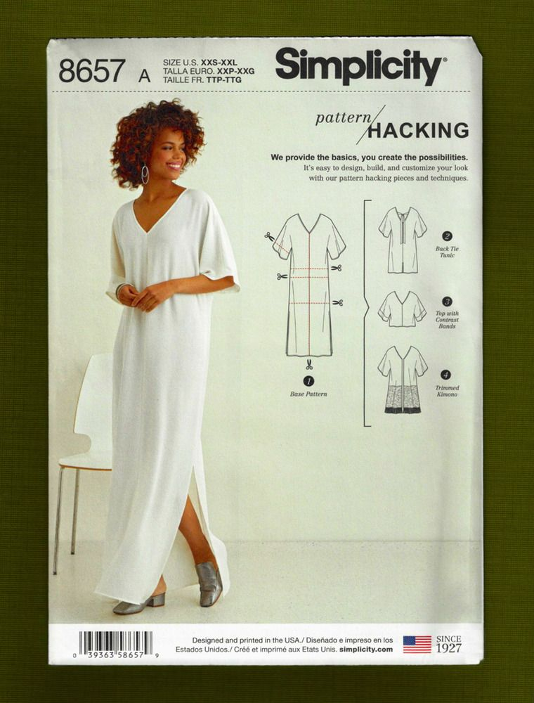 Caftan Tunic Top Sewing Pattern Sizes XXS-XXL Simplicity Hacking 8657 NEW