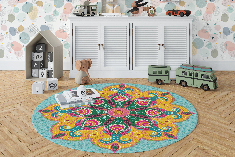 Large Round Mandala Vinyl Rug Decorative Vinyl Floor Mats Home