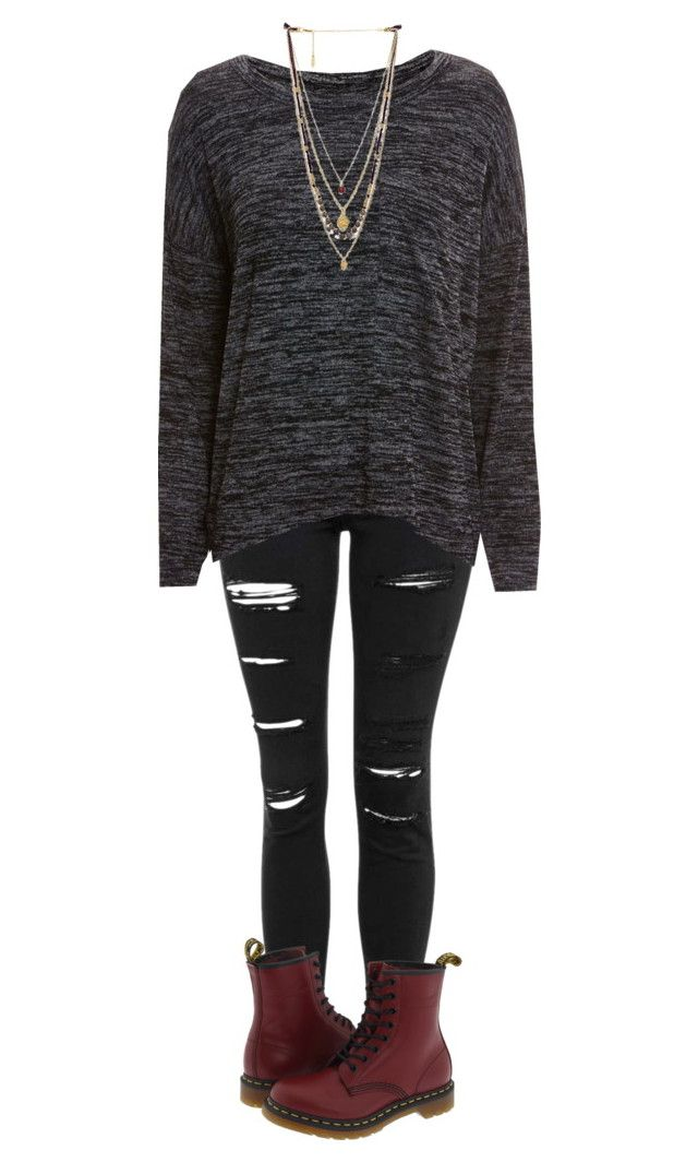 """""""Casual #61"""" by lullabyyy ❤ liked on Polyvore featuring Topshop, rag & bone/JEAN, Ettika, Dr. Martens, women's clothing, women, female, woman, misses and juniors"""