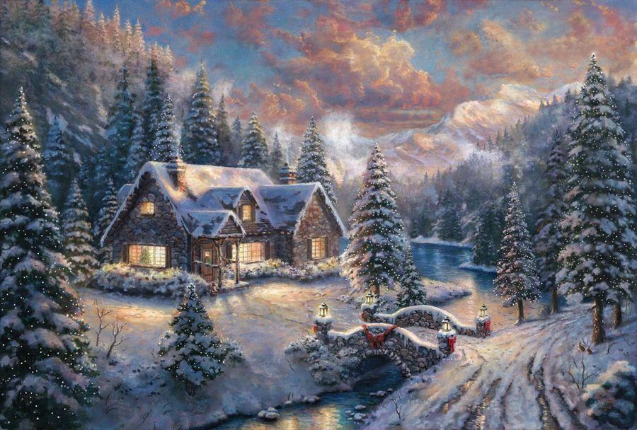 Программа, новогодние домики томас кинкейд картинки